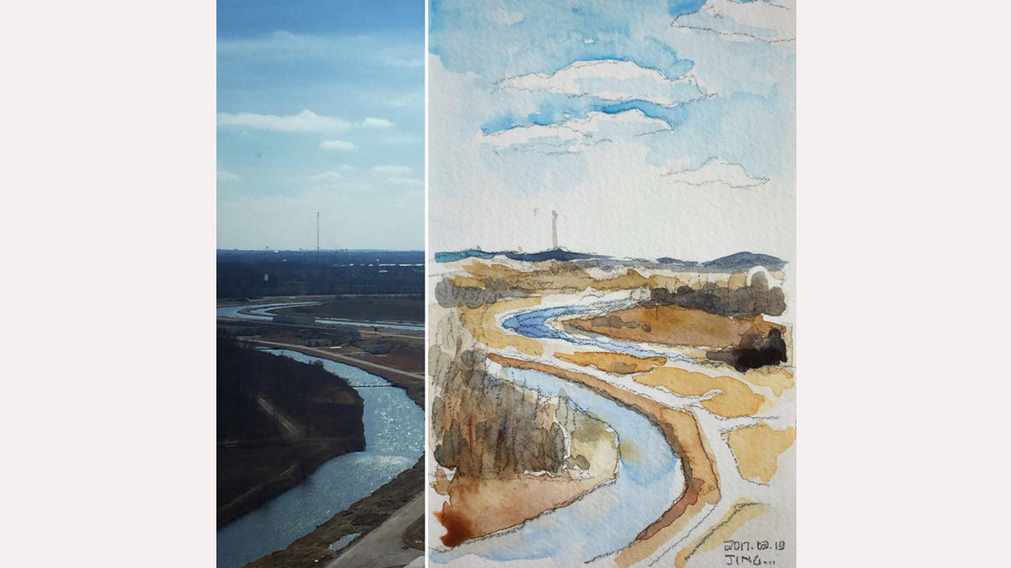 split image: left half is a photo of a moat-like pond on Fermilab's prairie; right is a drawing of the same