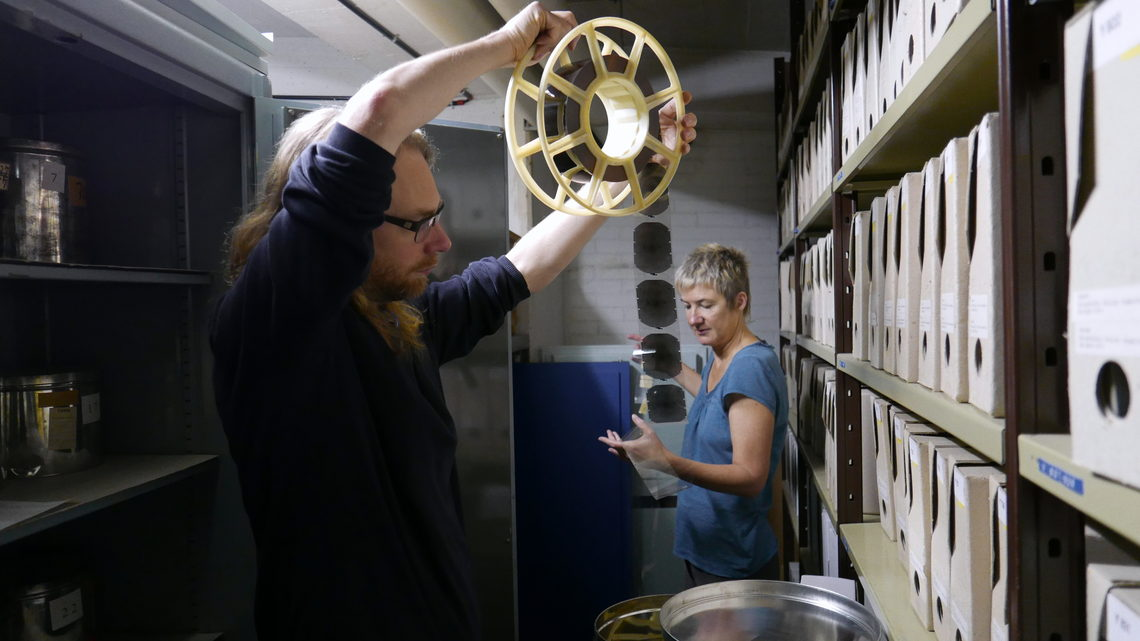 Photo of Joe Gerhardt at the CERN archives with Anita Hollier