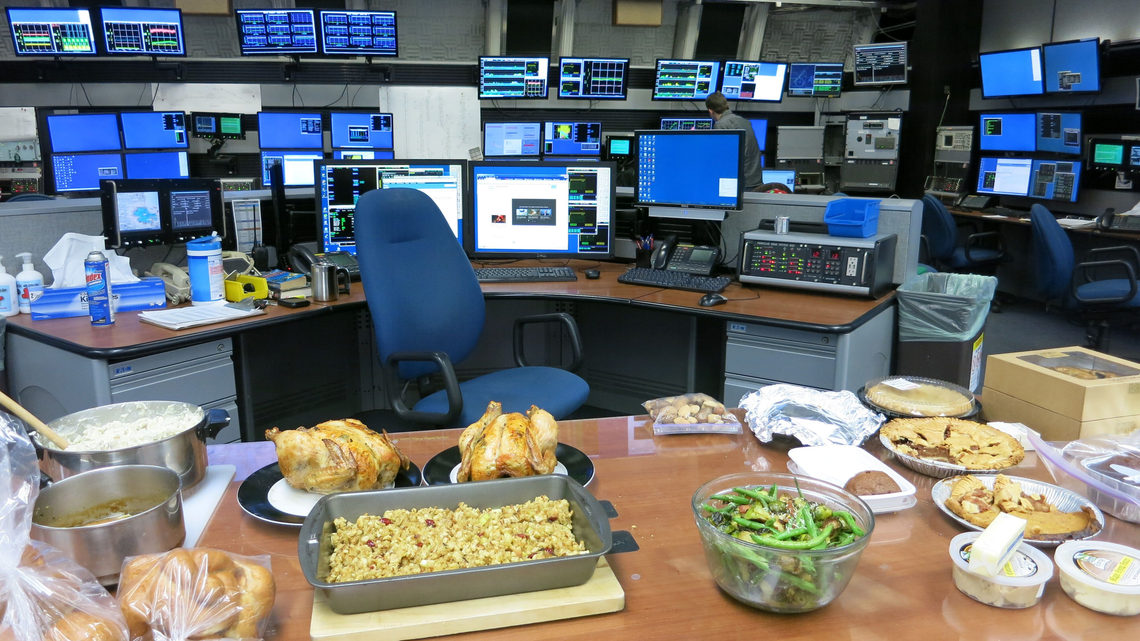 Photo of Fermilab Main Control Room holiday food