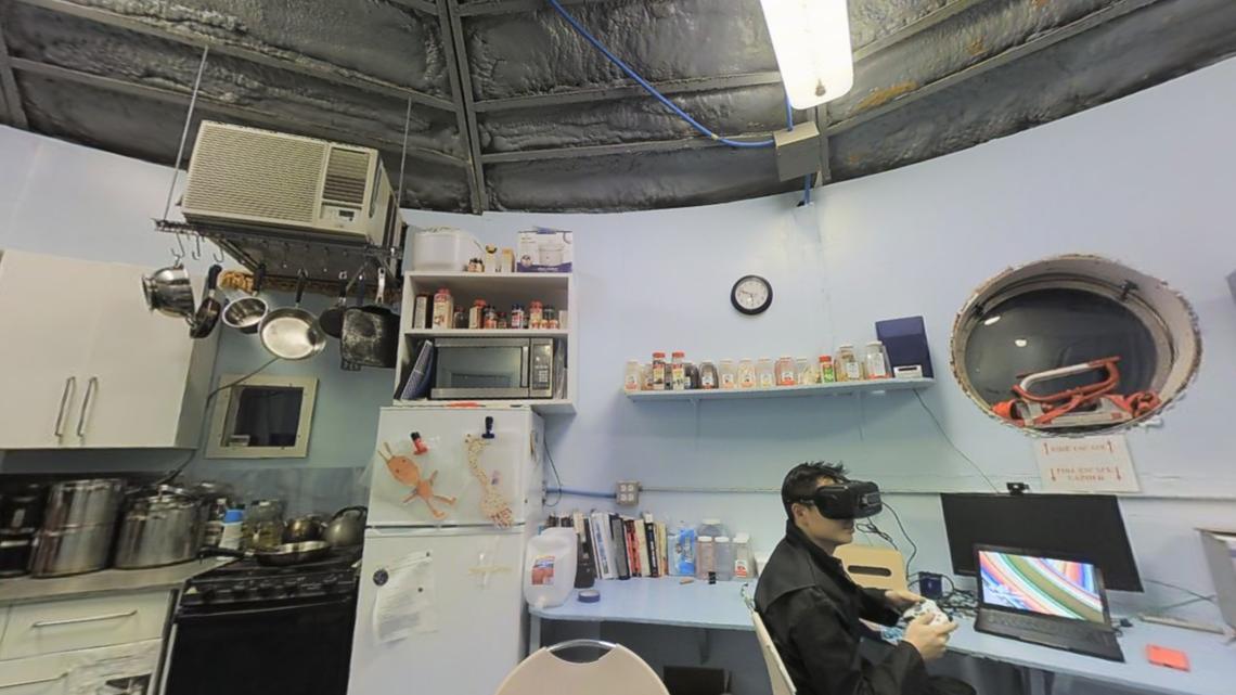 An interior shot of the simulated Martian base