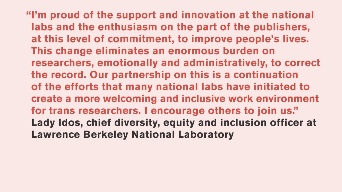 Lady Idos, Lawrence Berkeley National Laboratory