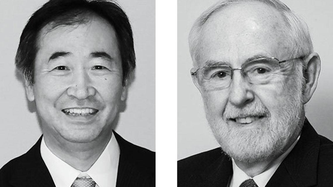 Photo of nobel physicists Takaaki Kajita and K. MacFarlane 2015