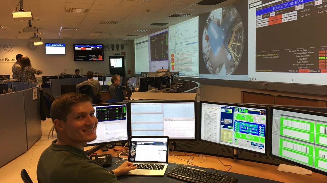 Pasner in a control room at CERN