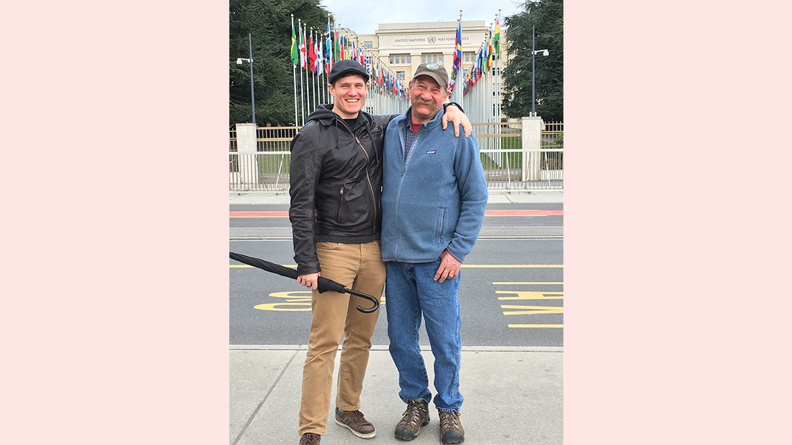 Pasner and his dad in front of a United Nations building