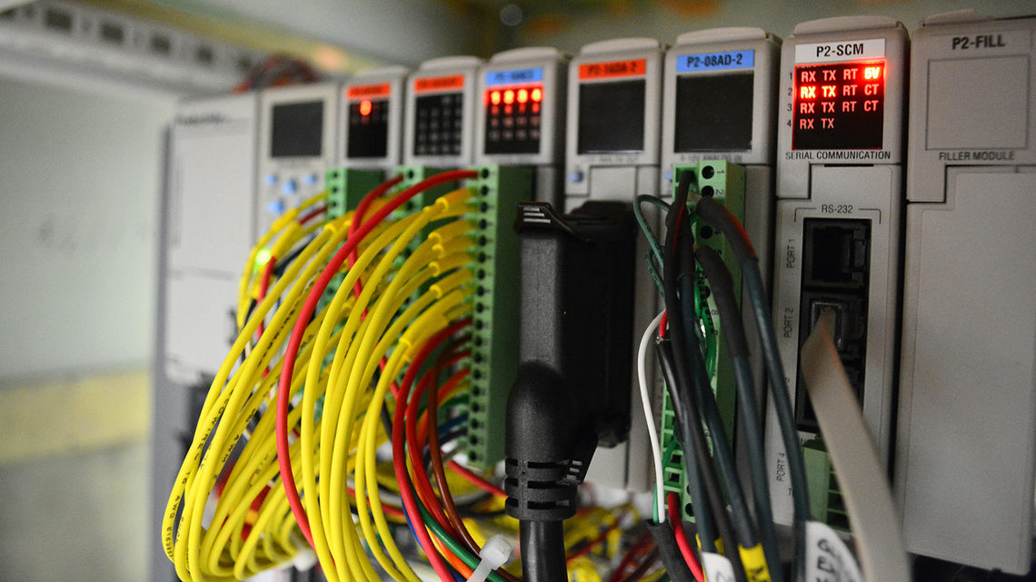 Yellow, red and black wires plugged into a device