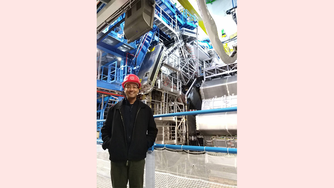 Photo of Shrestha underground at the ATLAS experiment
