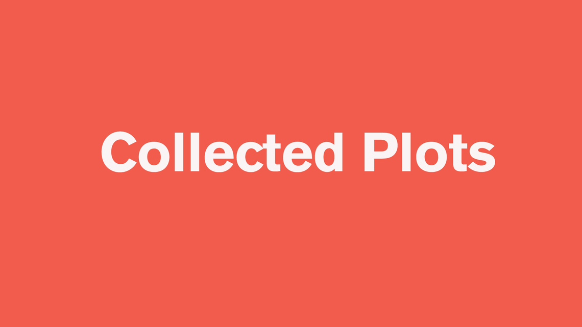 "Pink/red background with white type that says ""Collected Plots"""