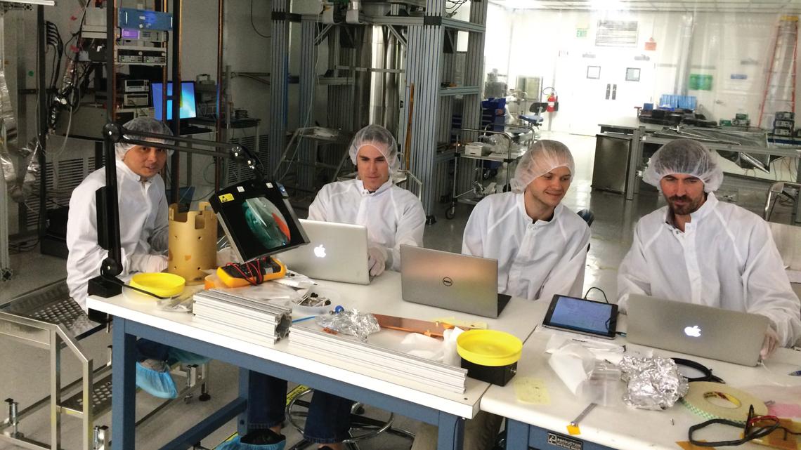From left: Tsuguo Aramaki (SLAC), Caleb Fink (University of California, Berkeley), Sam Watkins (UCB)
