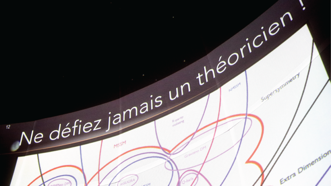 Photo of planetarium show in Strasbourg, visitors were jokingly warned never to challenge a theorist