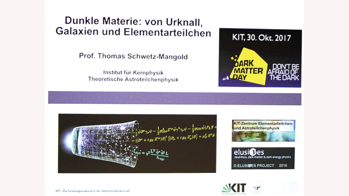 Photo of two Karlsruhe Institute of Technology researchers summarizing scientists' current understanding of dark matter