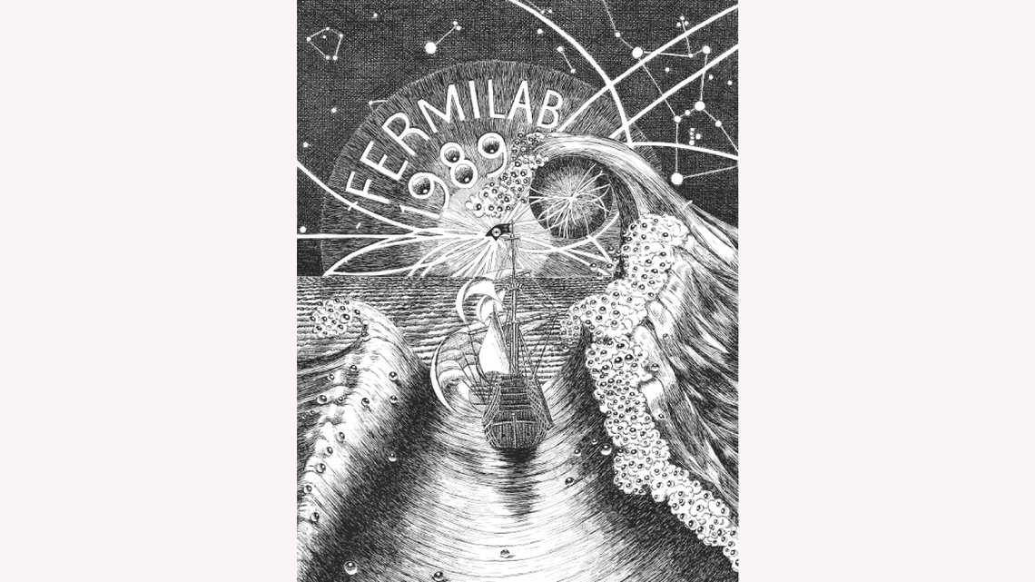 Drawing by Gonzales: for the cover for the Fermilab Annual Report (1989) uses a nautical theme