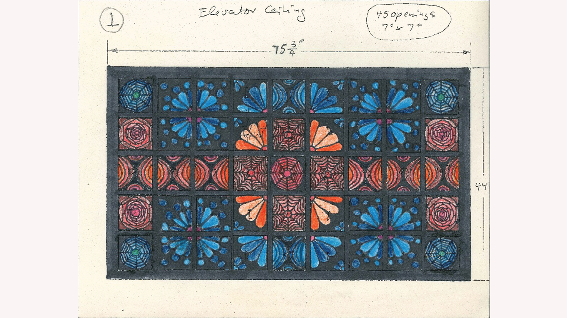 Photo of Gonzales's artwork for her design for the elevator ceiling tiles