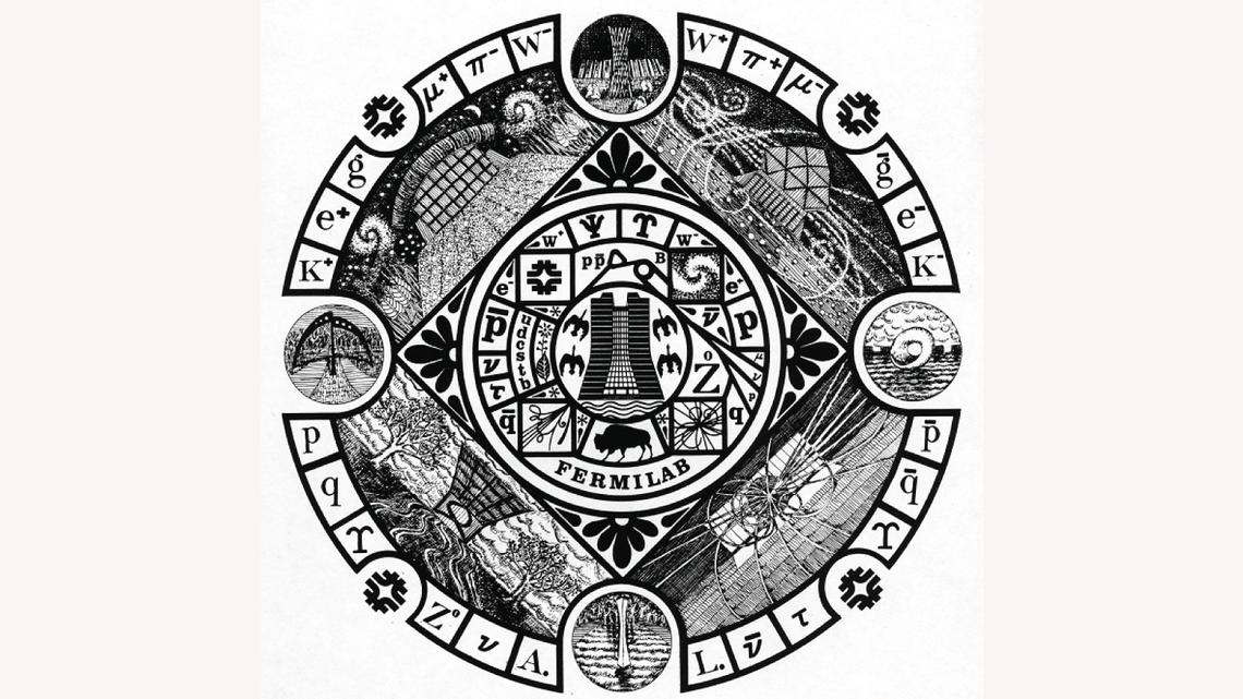Drawing by Gonzales who, incorporated many Fermilab elements into the unofficial Fermilab seal, including Wilson Hall, the logo