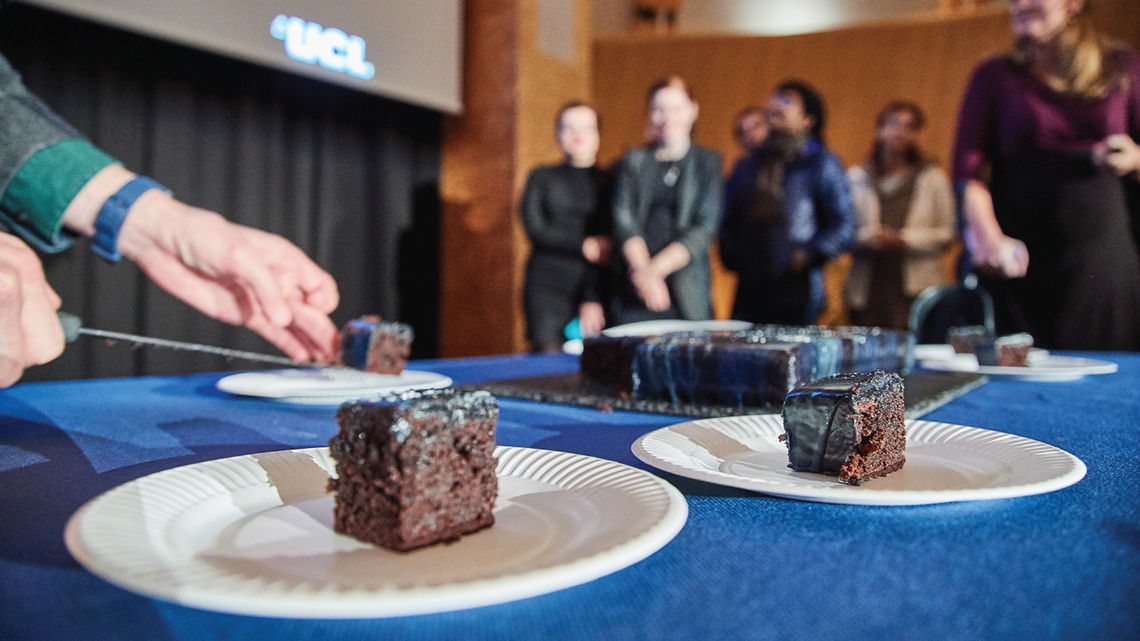 Photo of Dark Matter Day at CERN which, included a dark matter cake