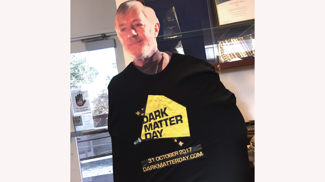 Obi-Wan Kenobi was spotted in a Dark Matter Day t-shirt in the Berkeley Lab Strategic Communications office.