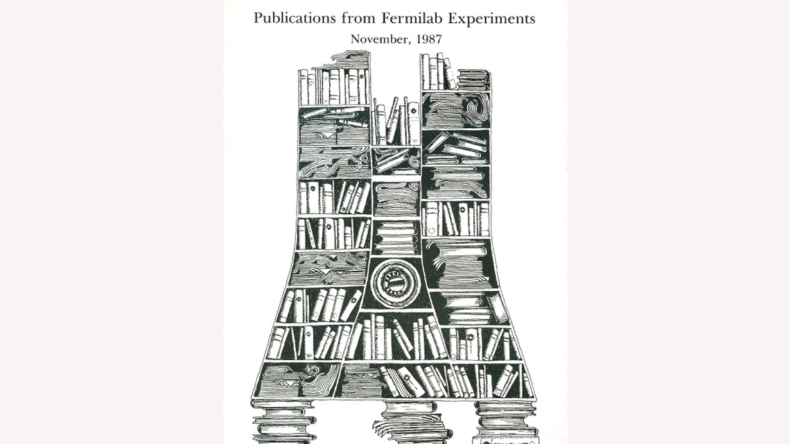 Drawing by Gonzales: documents and books fill a Wilson Hall-shaped bookshelf on the coverPublications from Fermilab Experiments