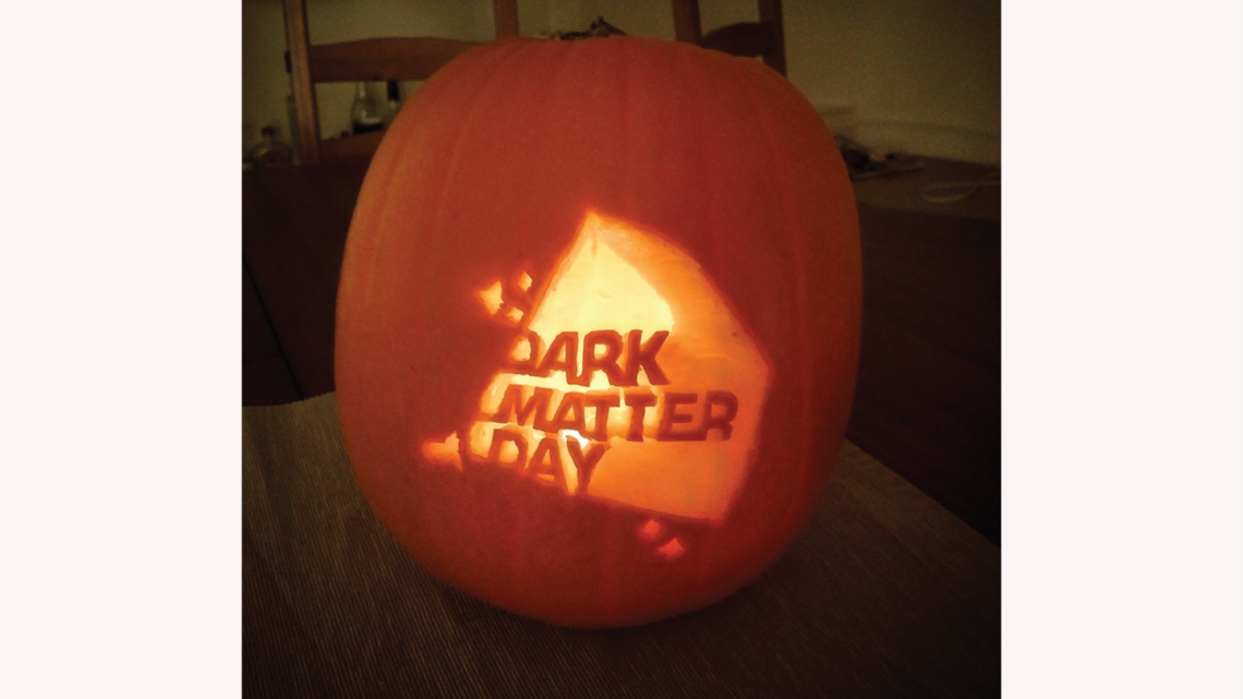 Photo of Kathryn Boast of University of Oxford's Department of Physics tweeted this photo of a Dark Matter Day jack-o'-lantern