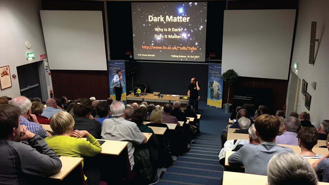"Photo of the auditorium packed for a special ""Talking Science"" public lecture at STFC's Daresbury Laboratory."