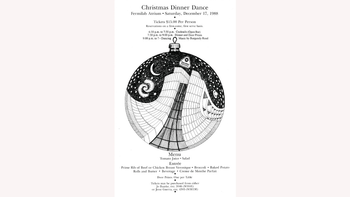 Drawing by Gonzales: Wilson Hall becomes an ornament on the poster for Fermilab's Christmas Dinner Dance in 1988