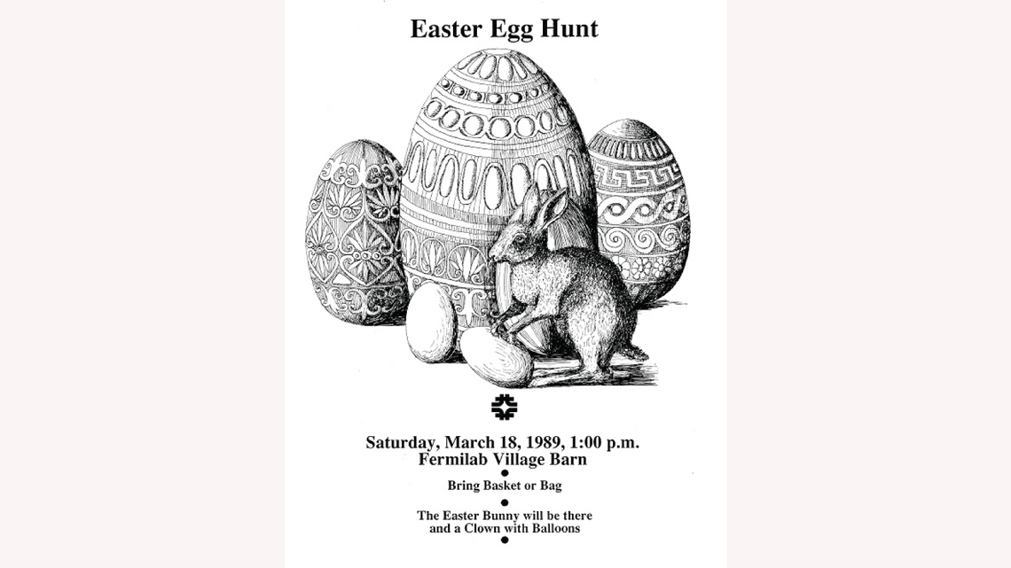 Drawing by Gonzales: a whimsical rabbit urges families to attend the 1989 Easter egg hunt on the Fermilab site