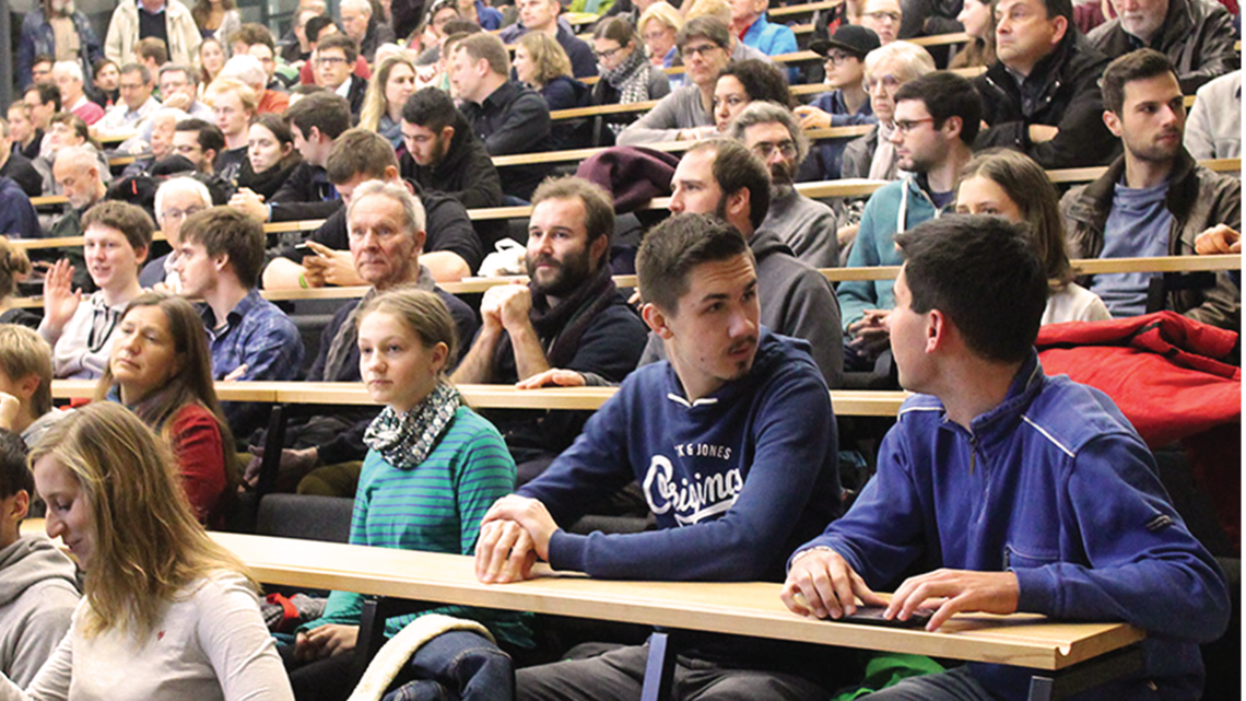 The interest of the public in Karlsruhe, Germany, was so great that the NTI lecture hall on Campus South