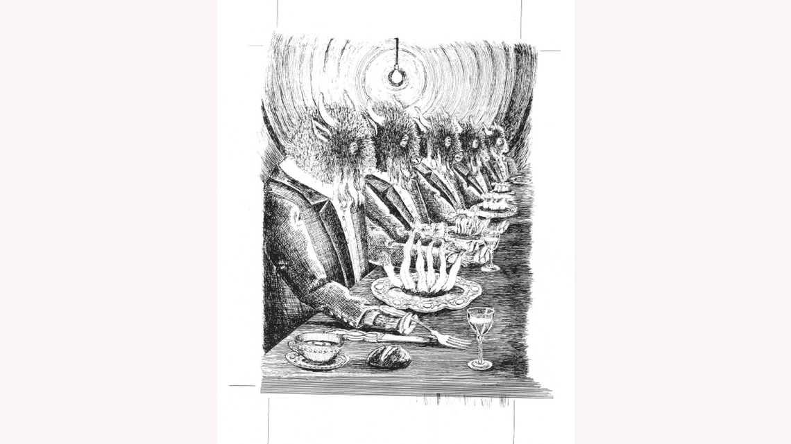 Drawing by Gonzales: elegant bison dine at a table in this surreal Gonzales artwork