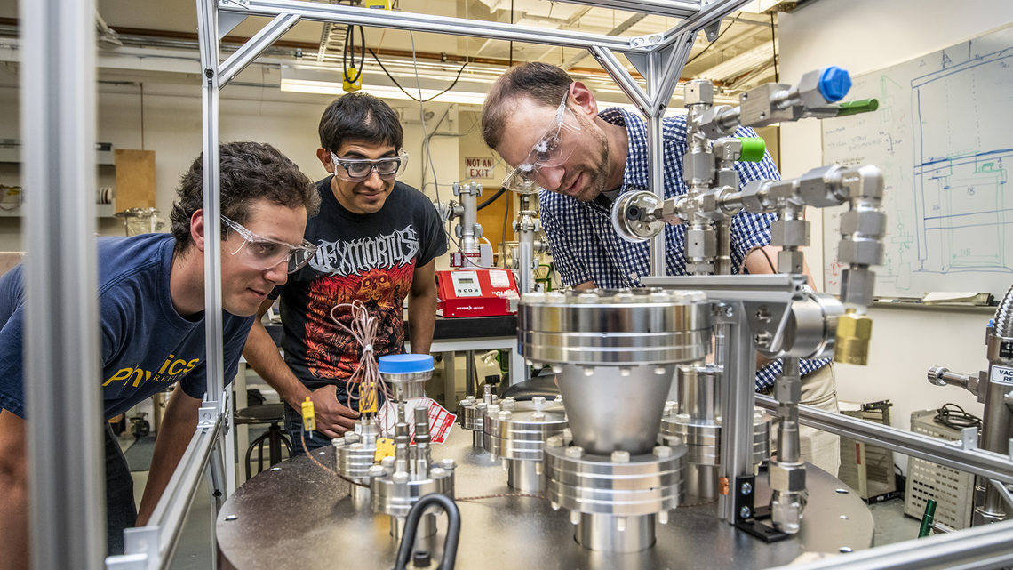 Samuel Kohn, Gael Flores, and Dan Dwyer work on ArgonCube technology at Lawrence Berkeley National Laboratory.