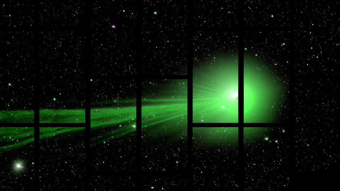Green comet grid overlay
