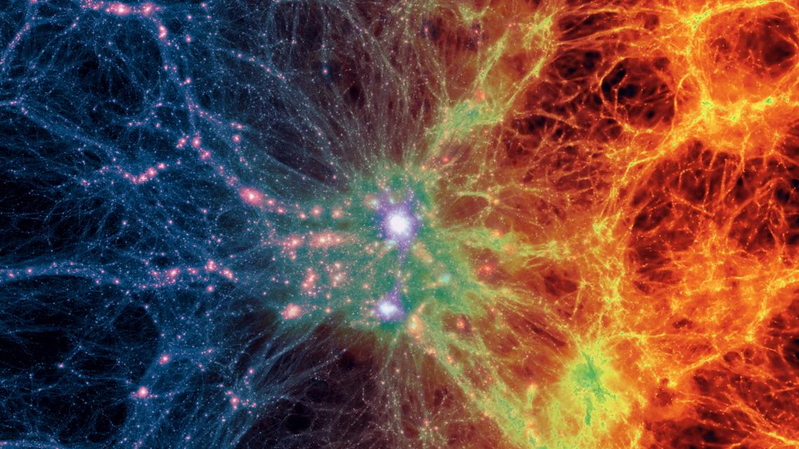 Dark matter density (left) transitions to gas density (right).