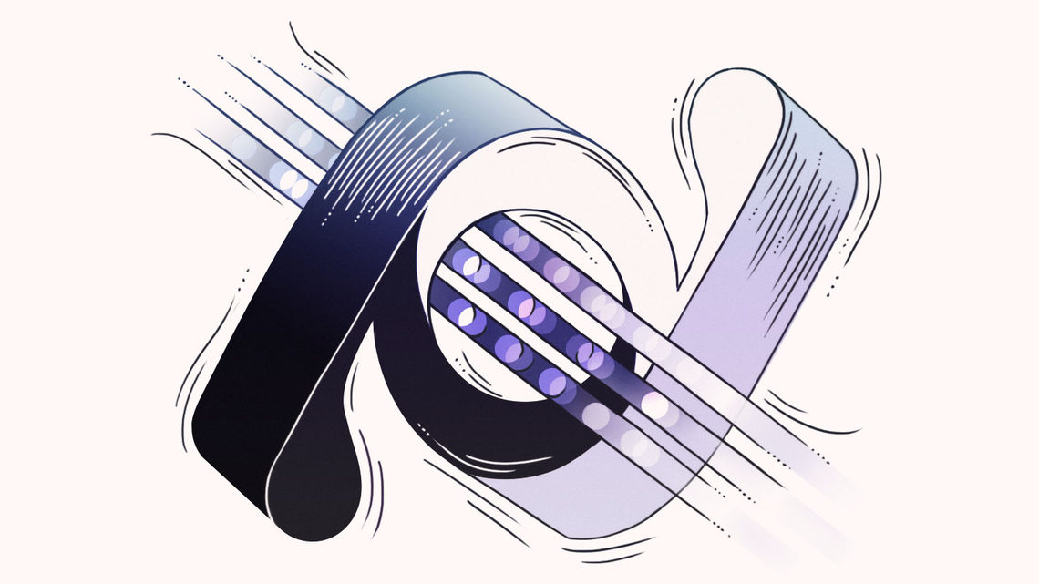 Illustration of twisted neutrino symbol with particles moving through center