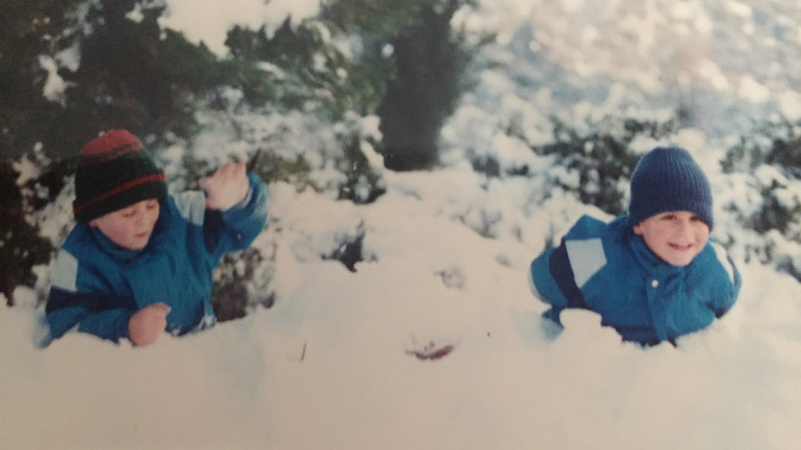 Konstantinos and George playing in the snow