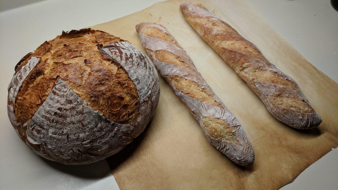 Sourdough boule and baguettes