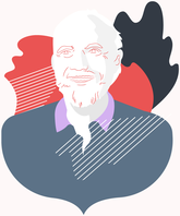 Illustrated portrait of Barry Barish