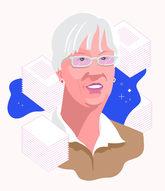 Illustrated portrait of Jean Deken (pink, white, tan, blue)