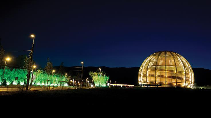 Photo of globe at CERN