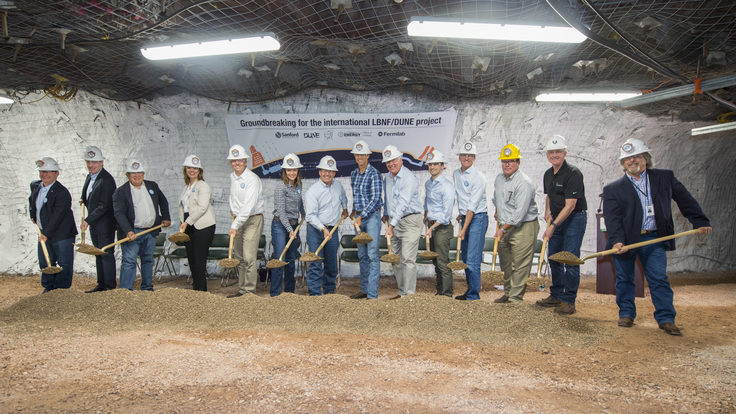 Fourteen shovelers mark the start of LBNF construction.