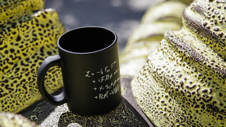 Coffee mug with equations on it