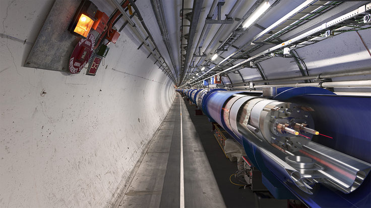 Cutaway image showing the two beam pipes inside the Large Hadron Collider