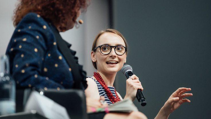 Maria Zurek, right, speaks during a discussion panel at the Linda Nobel Laureates Meeting.