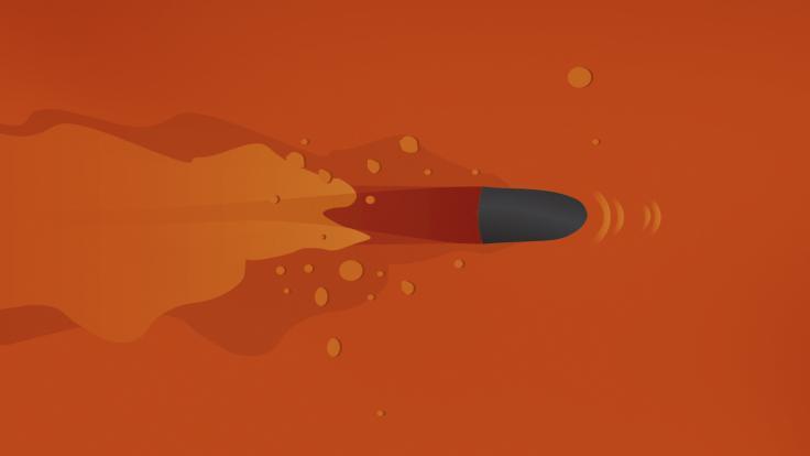 Illustration of bullet on orange background