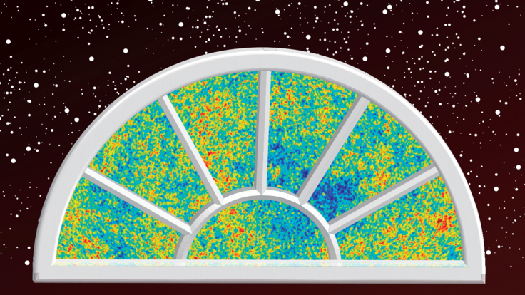 Illustration cosmic microwave background inside window in space