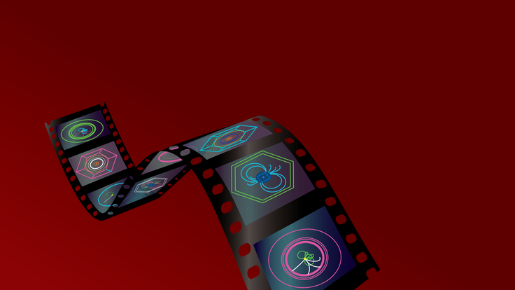 An illustration of a film strip with particle events on each frame