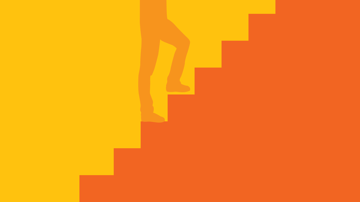 An illustration of a person walking up a flight of stairs
