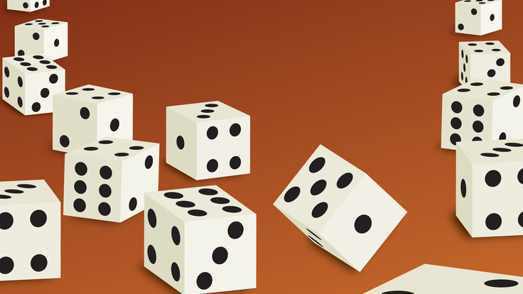 An illustration of tumbling dice