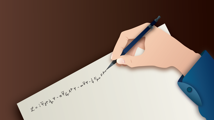 An illustration of a hand writing an equation