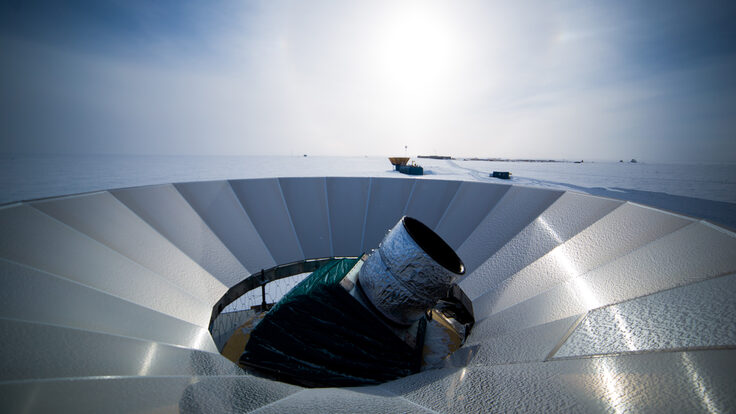 Photo of the BICEP3 telescope at the South Pole