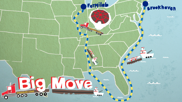 """Illustration of US Map showing the Muon detector: """"Big Move Fermilab"""""""