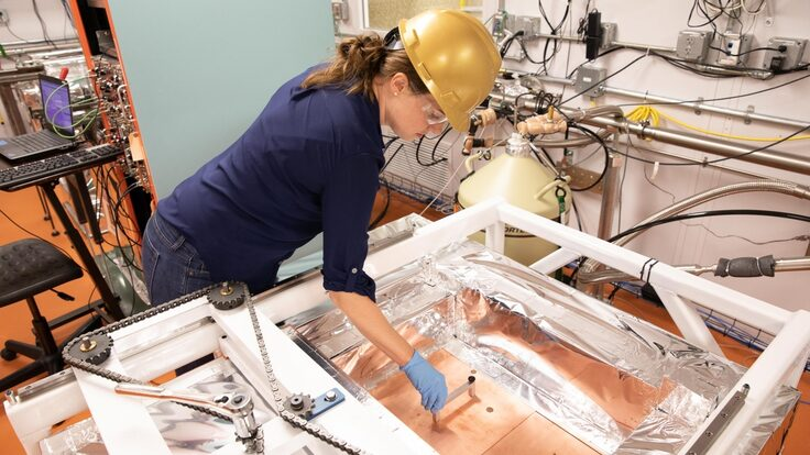 Brianna Mount, assistant professor of physics at Black Hills State University, at work.