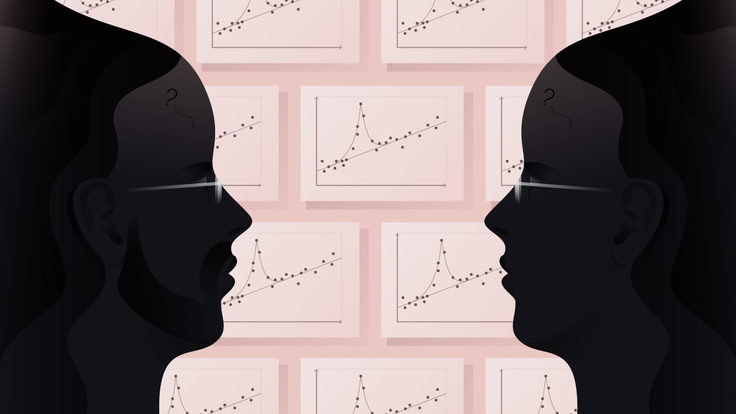 Illustration of man's profile in black on the left, woman's profile on right. Pink background with coated in brick pattern