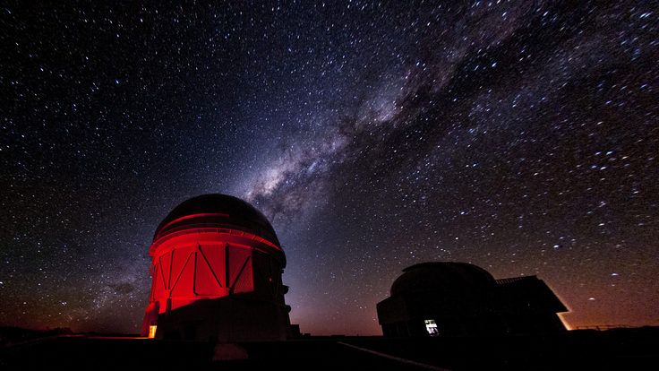 Milky Way galaxy rising over the Dark Energy Camera in Chile